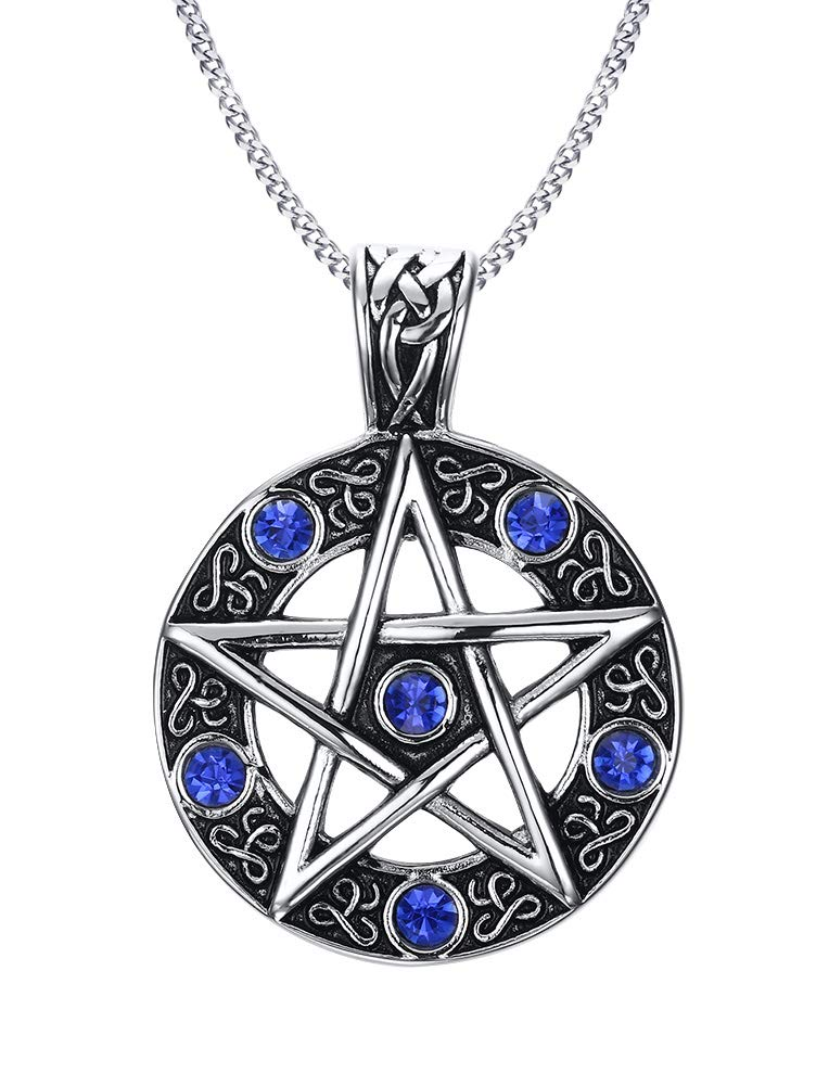 PJ JEWELRY Stainless Steel Vintage Celtic Gothic Star Pentagram Pentacle Pagan Wiccan Witch Necklace,Seal of Solomon Pendant