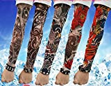 SHINA Hot High Quality Lot 5 Pcs Temporary Fake Slip On Tattoo Arm Sleeves Kit K