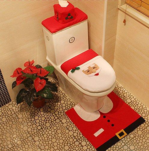 Teppich Santa (CrazySell Happy Santa Toilette Dekor Sitzbezug Tissue Cover und Teppich Set für Weihnachtsdekoration (Happy Santa))