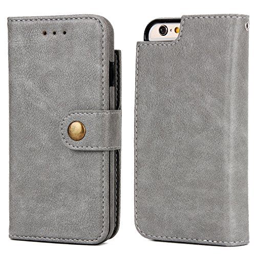 EKINHUI Case Cover Geldbörse Tasche, stilvoll 2 in 1 abnehmbare Premium PU Leder Stand Case Cover mit Magnetniet Verschluss & Card Slots für iPhone 6 Plus & 6s Plus ( Color : Brown ) Gray