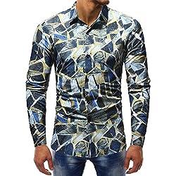Camisas hombre Estilo de invierno de los hombres de manga larga blusa de impresión,YanHoo Mens Casual color manga larga camisa negocio Slim Fit camisa impresa blusa (G, M)