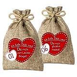 24 Adventskalender Säckchen aus Jute mit 24 GründenIch Liebe Dich, Weil . - (für Erwachsene Männer & Frauen geeignet) für Weihnachtskalender/Adventskalender zum Befüllen von Adventino