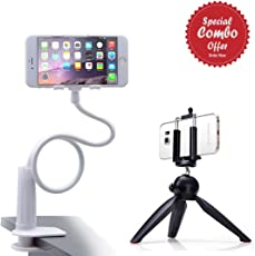 Piqancy Combo Pack of Universal Lazy Bracket Mobile Phone Stand, Flexible Gooseneck Long Arm Clip, Mobile Phone Stand Holder & Mini Mobile Tripod With 360 degree Rotating Ball Head With Mobile Clip for all Android or iOSDevices.