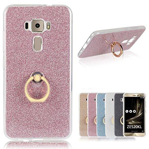 Für Asus ZenFone 3 (ZE520KL) Hülle, Pheant® Schutzhülle mit Ständer Ring [Durchsichtige Handyhülle + Glitzer Papier in Rosa]