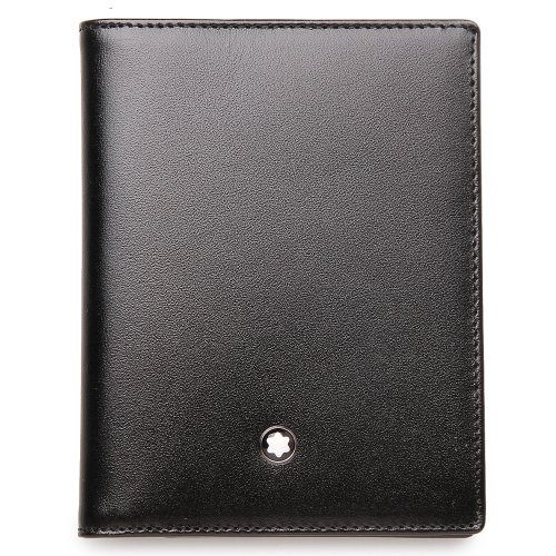 Multi-Credit-Card Case Made Of Black European Full-Grain Cowhide With Unique Montblanc Deep Shine, Jacquard Lining With Montblanc Brand Name, And A Montblanc Emblem With Palladium-Coated Ring, With 12 Removable Clear Pockets For Credit Cards.