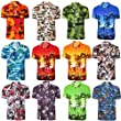 Hawaiian Shirt, Mens Aloha Floral Flower Printed Summer Surf Beach Stag Party Short Sleeves Funky Holiday Top