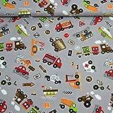 MAGAM-Stoffe Bunte Autowelt grau Baumwollstoff Kinderstoff 100% Baumwolle Oeko-Tex Meterware 25cm