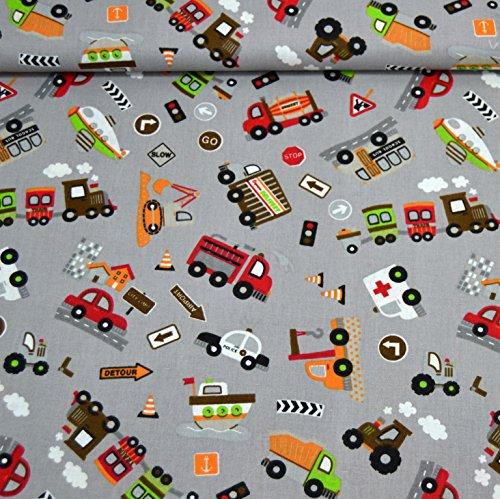 MAGAM-Stoffe Bunte Autowelt Baumwollstoff grau Kinderstoff 100% Baumwolle Oeko-Tex Meterware 25cm