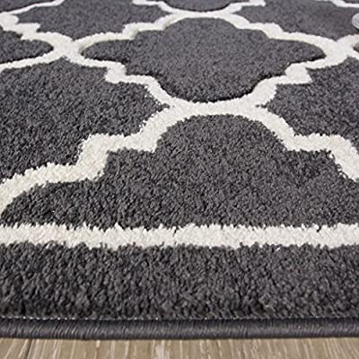 Contemporary Graphite Grey Quality Carved Trellis Pattern Living Room Rug - Havana 5 Sizes Available - cheap UK light shop.