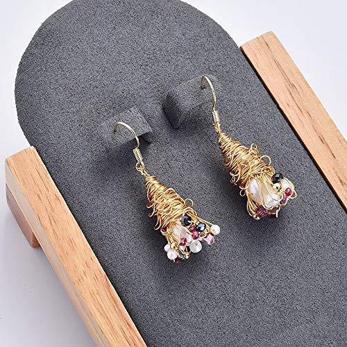 YUANEHHK Damen Ohrringe Barock Vintage Matte Metal Gold Geprägte Porträt Skulptur Natürliche Unregelmäßige Süßwasser Perlenohrringe Für Frauen Mädchen Barock-skulptur