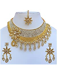 Lucky Jewellery Designer Golden Color Gold Plated Necklace Set For Girls & Women - B0784C52QV