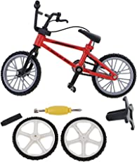 MagiDeal Metal Finger Mountain Bike Bicycle Mini Fingerbike Model with Spare Tires Boys Toy Collectible - red