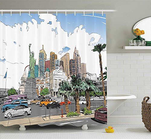 tain, Hand Drawn Las Vegas City Nevada Street Sketch Buildings Statue of Liberty Cars Palms, Fabric Bathroom Decor Set with Hooks, 60x72 inches Extra Long, Multicolor ()