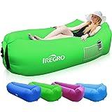 IREGRO Aufblasbares Sofa tragbarer aufblasbarer Sitzsack mit integriertem Kissen und integriertem Seitentaschen, wasserdichtes air Lounger aufblasbare Couch Outdoor Sofa für Camping