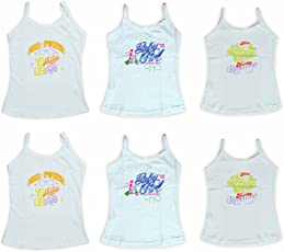Lenity Girls Printed Cotton Camisole Slips/Vests, (Pack of 6)