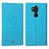 Slimicoo LG G7 ThinQ Leder Tasche Flip Handyhülle Standfunktion Kartenfach Magnetverschluß Card Holder kristallklarer TPU Wallet Schutzhülle für LG G7 ThinQ (Blue)