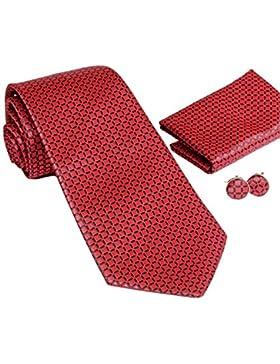 MONETTI Set de Corbata - 100% seda - rojo - en la caja de regalo!