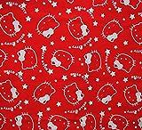 Unbekannt 1 m * 1,4 m - Stoff -  Hello Kitty - Kopf ROT - 100 % Baumwollstoff - Stoffe Meterware - Kleiderstoff / Dekostoff / Bettwäsche u.v.m. - Baumwolle - für Vorh..