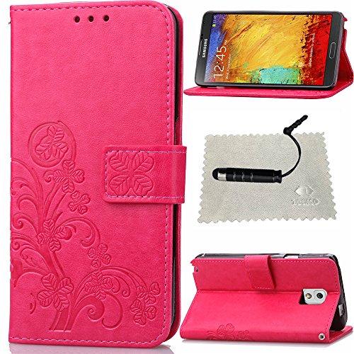 Schutzhülle für Samsung Galaxy Note 3 Leder Klee Impressum,TOCASO Glatt Thin Rose PU Leder Handyhülle Tasche Flip Cover Wallet Case...