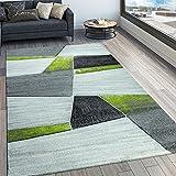 Paco Home Designer Teppich Modern Konturenschnitt Geometrisches Muster Grau Grün, Grösse:120x170 cm