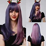 HAIRCUBE Peluca de cosplay, pelucas sintéticas naturales azules púrpura y rosa peluca púrpura con flequillo Partido de Hallow