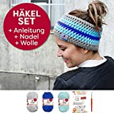 myboshi Häkelset für Stirnband Amami inkl. Wolle + Häkelnadel + Häkelanleitung in 3 Farben (silber himmelblau saphir, mit Häkelnadel)