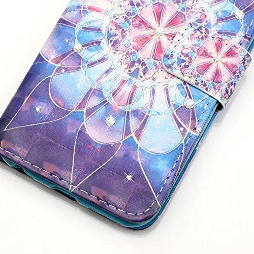 iPhone 8 Plus Hülle, STENES Glitzer Stilvoll Serie Kartenfach Standfunktion Magnet Ledertasche Wallet TPU Stoßfänger Schutzhülle für iPhone 7 Plus / iPhone 8 Plus - Traumfänger / Blau Hübsche Blumen / Fantasie