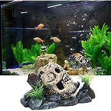Naisicatar Figura decorativa para acuario, diseño de calavera pirata