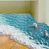 Longra 3D Strand Stock Aufkleber abnehmbare Wandbild Aufkleber Vinyl Wandkunst lebenden Wandsticker Raum Dekor Wandaufkleber (B)