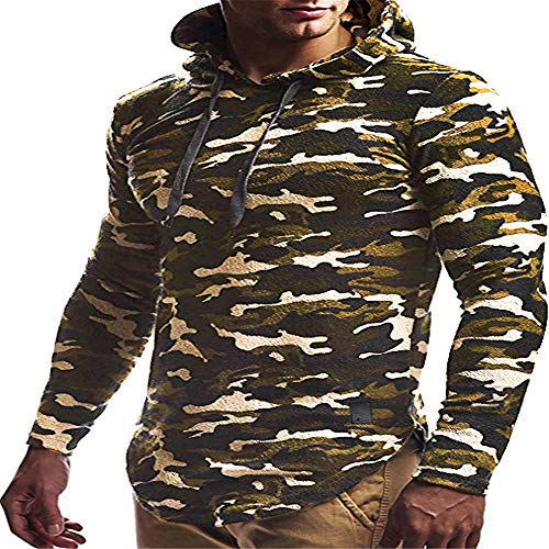 YEZIJIANG Herren Pullover Kapuzenpullover Hoodie Sweatshirt Camouflage/Einfarbig Männer Pullover Rundhals-Ausschnitt Longsleeve dünner Pulli Sweat Langarmshirt Jungen Hoodie T-Shirt Streetwear