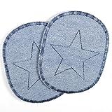 Knieflicken Set retro Jeans hellblau Flicken zum aufbügeln mit blauem Stern multicolor 10 x 8 cm Buegelflicken 2 Hosenflicken reissfeste Aufbügler als schlichte Bügelbilder und Applikationen für Kinder auch zum aufnähen geeignet