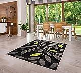 Designer Teppich Friese Modern Verschiedene Größen Schwarz Grau Grün (120x170)