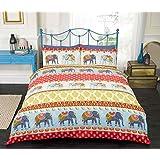 Jaipur, Elephant, Duvet Cover, Quilt Set, Red, Double Size