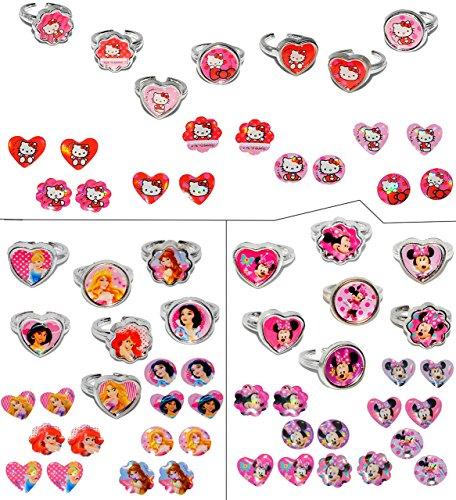 Unbekannt Set _ 14 Stück verstellbare Ringe + 14 Paar Ohrring Sticker - Hello Kitty + Minnie Mouse + Princess - für Kinder Mädchen Schmuck Kinderringe - Katze rosa Ohrr.. (Hello Kitty-geschenke Für Kinder)