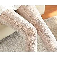 Weisin - Calze a rete da donna, in chiffon e pizzo, con strisce verticali, colore: bianco