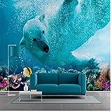 BZDHWWH Seidenwandbild & Wandtattoos Eisbär Ozean Welt Landschaft Wandbild, 3D Cartoon Tapete Für Wohnzimmer Schlafzimmer Kinderzimmer,240Cm (H) X 360Cm (W)