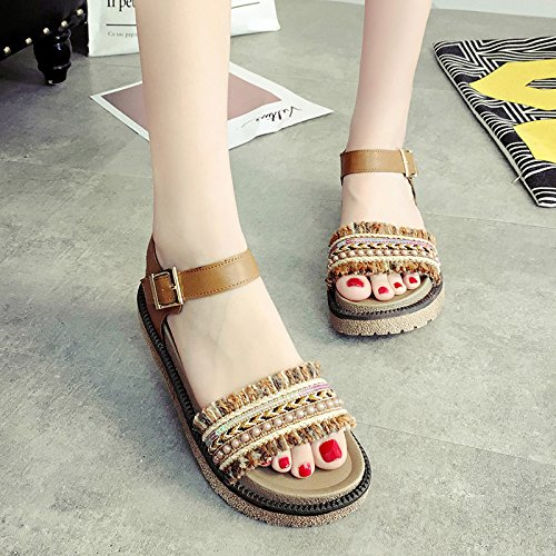RUGAI-UE Con suole spesse sandali Flat Estate Calzature Donna Light Brown