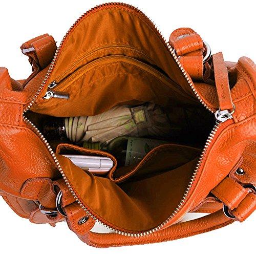 SAIERLONG Frauen Tote Einzel-Schultertasche Handtasche Orange Kuh-Leder Rosa