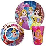 TW24 Kindergeschirr Set - Kindergeschirr Disney - Essgeschirr Kinder - Disney Geschirr Set - Frühstücks-Set mit Motivauswahl (Geschirrset Princess)
