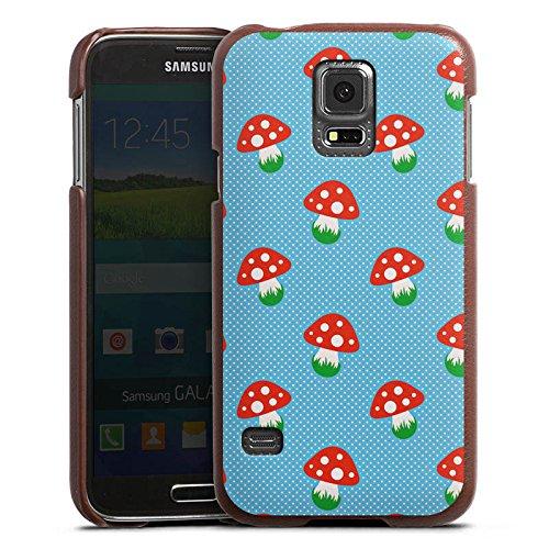 DeinDesign Samsung Galaxy S5 Neo Lederhülle braun Leder Case Leder Handyhülle Pilz Fliegenpilz Oktoberfest - Pilz Braun Leder
