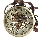XLORDX Retro Handaufzug mechanische Taschenuhr Skelett Uhr Metall mit Etui Langeband
