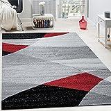 Tapis Design Moderne Courbes Douces Lignes Motif Poils Ras Chiné Rouge, Dimension:120x170 cm