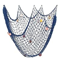 Safety Net Kids Protective Safety Protection Decorative fish net Mediterranean style decorative fish net shell blue nautical decorative wall hanging shell home bathroom bar wall decoration Blue beige