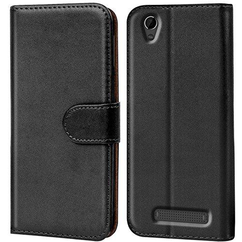 Verco Blade A452 Hülle, Handyhülle für ZTE Blade A452 Tasche PU Leder Flip Case Brieftasche - Schwarz