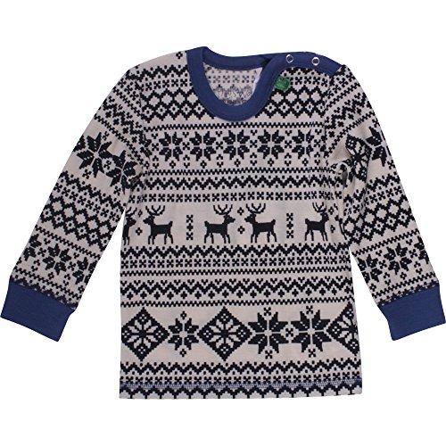 Nordic Wool (Fred's World by Green Cotton Baby-Jungen Wool Nordic T Langarmshirts, Blau (Marine 019395301), Herstellergröße: 68)