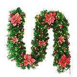 Shuda 2.7M Weihnachtsgirlande Weihnachten Girlande künstliche grün Tannengirlande Weihnachten Rattan Kränze Weihnachtsdekoration für Fenster Weihnachtsbaum Size 25 * 270CM (Rot)