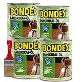 Bondex Bangkirai-Öl, 3 Liter inkl. Pinsel - Schutz- und Pflegeöl für Aussen, Gartenmöbel und Terrassenöl