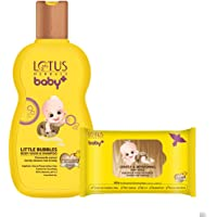 Lotus Herbals Baby+ Bubbles Body Wash and Shampoo 200 ml & Gentle and Refreshing Wipes 10 Count