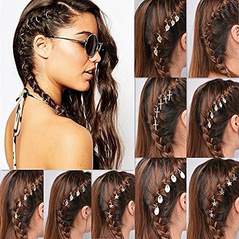 QTMY 30pcs Rings Shells Hands Leaves Stars Pendant Hair Clip Set Headband Hair Accessories (Gold)