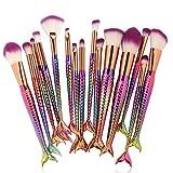 Espadon Coloré Pinceaux Maquillage x 15Pcs----HUI.HUI Pinceaux Sets Maquillage Brosse Make Up Pour Beauté Premium Fondation Mélange Blush Les LèVres Yeux Visage Poudre Cosmétiques (Coloré)